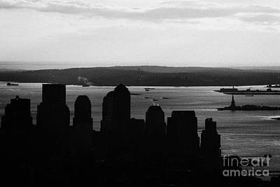 Sunset View Of Lower Manhattan Financial District Bay New York Silhouette City Print by Joe Fox
