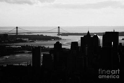 sunset view of manhattan financial district new york bay and Verrazano Narrows Bridge Print by Joe Fox