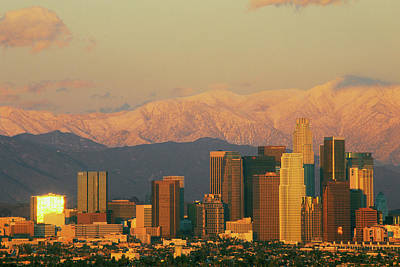 Sunset View Of Mount Baldy And Los Art Print