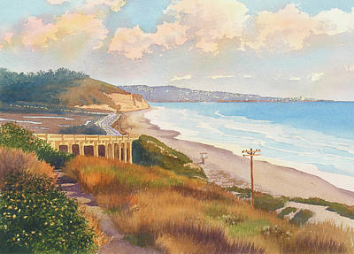 Mount Rushmore Wall Art - Painting - Sunset View Of Torrey Pines by Mary Helmreich