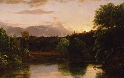 Reflecting Tree Painting - Sunset  View On Catskill Creek by Thomas Cole