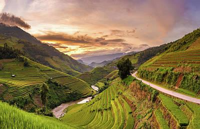 Sunset View Point Of Rice Terrace Art Print by Suttipong Sutiratanachai