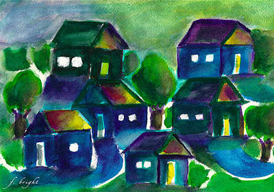 Art Print featuring the painting Sunset Village Watercolor by Frank Bright