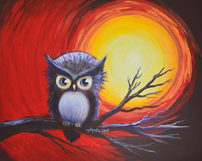 Sunset Vortex With Owl Art Print