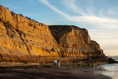 Sunset Walk At Flat Rock  La Jolla California Art Print
