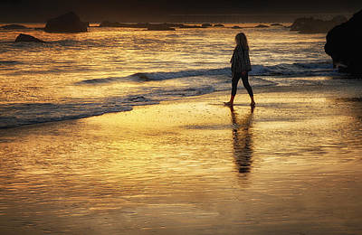 Photograph - Sunset Walk On San Simeon Beach by Robert Woodward