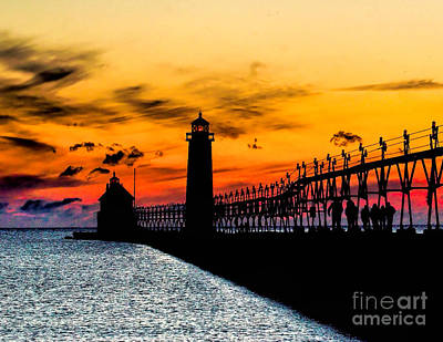 Sunset Walking On Grand Haven Pier Art Print by Nick Zelinsky