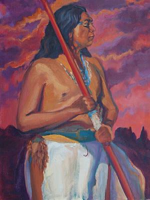 Painting - Sunset Warrior by Christine Lytwynczuk