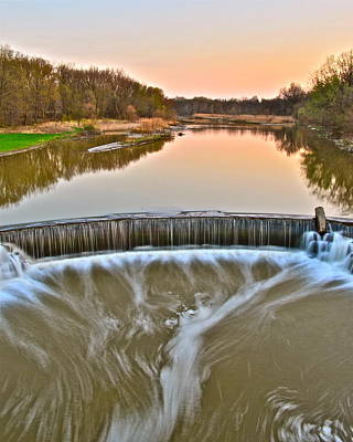 Realistic Photograph - Sunset Waterfall by Frozen in Time Fine Art Photography