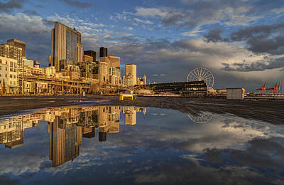 Serene Photograph - Sunset Waterfront Seattle Skyline by Mike Reid