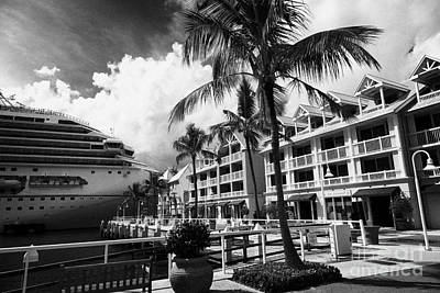 Mallory Square Key West Wall Art - Photograph - Sunset Waterfront Shoppes And Carnival Freedom Cruise Ship Moored Off Mallory Square Key West Florid by Joe Fox