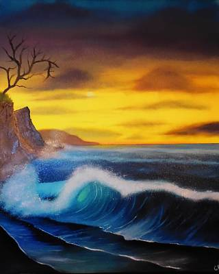 Sunset Wave Art Print by Charles Eagle