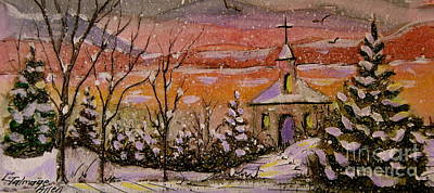 Painting - Sunset Winter Church by Gretchen Allen