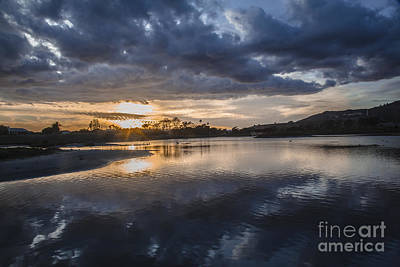 Photograph - Sunset With Clouds Over And Under Malibu Beach Lagoon Estuary by Jerry Cowart