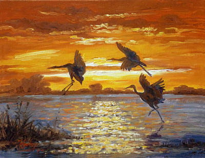 Sunset Painting - Sunset With Cranes by Irek Szelag