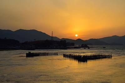 Sunset With Facility For Fishing Anchovy By Flow Of Sea Water Art Print by Sihyeon Park