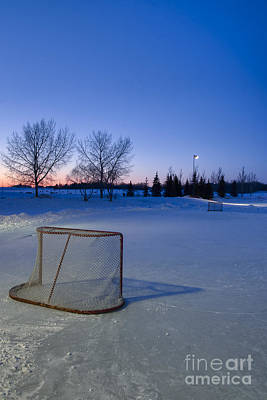 Pond Hockey Photograph - Sunset With Vacant Pond Hockey Rink by Darcy Michaelchuk