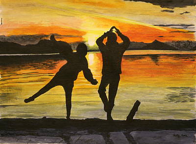 Painting - Sunset Yoga by Betty-Anne McDonald
