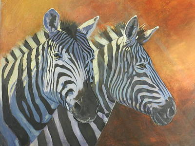South Africa Zebra Painting - Sunset Zebra by Robert Teeling