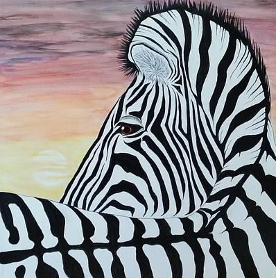 Steven White Mixed Media - Sunset Zebra by Steven White
