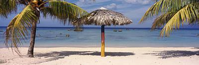 Sunshade On The Beach, La Boca, Cuba Art Print by Panoramic Images