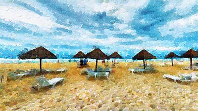 Sunshade Painting - Sunshades On The Beach by Magomed Magomedagaev