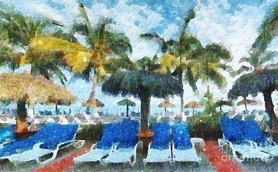 Sunshade Painting - Sunshades Under Palms by Magomed Magomedagaev