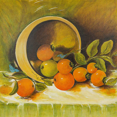 Table Cloth Painting - Sunshine Fruit by Dawn Broom