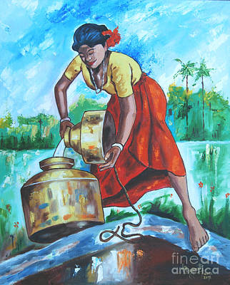 Tamilnadu Painting - Sunshine Girl by Ragunath Venkatraman