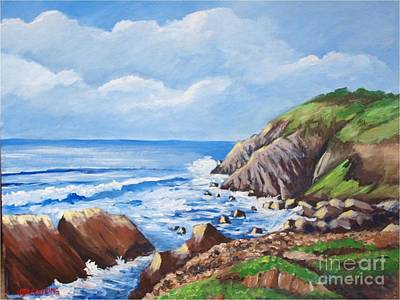 Painting - Sunshine In Byron Bay Cliffs by Jean Pierre Bergoeing