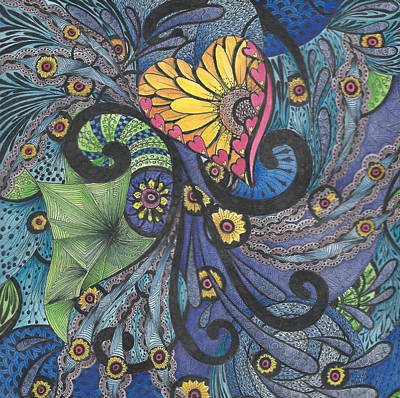 Painting - Sunshine In My Heart Tangle by Meldra Driscoll