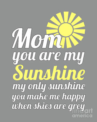 Digital Art - Sunshine Mom - Grey Background by Ginny Gaura
