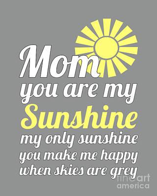 Digital Art - Sunshine Mom - Grey Background by Ginny Gaura