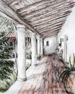 Walkway Drawing - Sunshine On Portico by Danuta Bennett