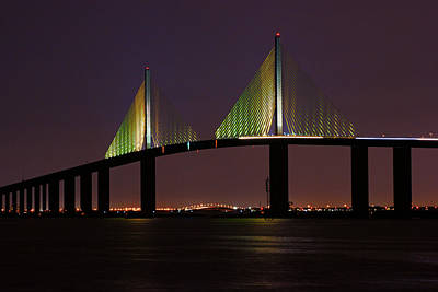 Print featuring the photograph Sunshine Skyway At Dusk by Daniel Woodrum