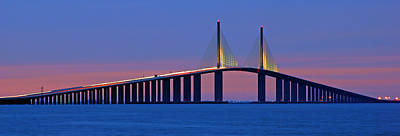Print featuring the photograph Sunshine Skyway At Dusk II by Daniel Woodrum