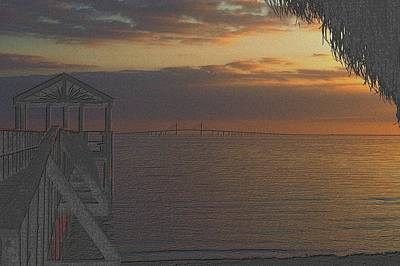 Drawing - Sunshine Skyway At Sunset by Richard Zentner