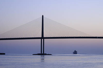 Photograph - Sunshine Skyway Bridge At Dawn by Bradford Martin