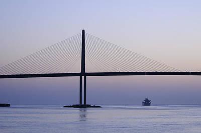 Photograph - Sunshine Skyway Bridge At Dawn by Bradford Martin
