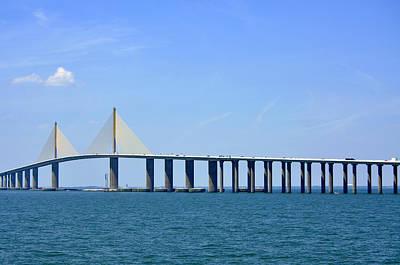 Sunshine Skyway Bridge II Tampa Bay Florida Usa Art Print by Sally Rockefeller