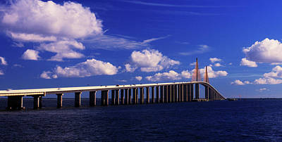 Sunshine Skyway Bridge Wall Art - Photograph - Sunshine Skyway Bridge Spanning Tampa by Panoramic Images