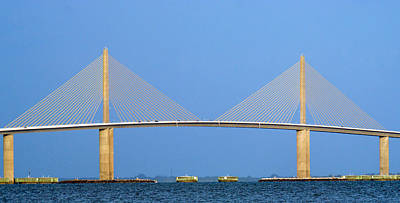 Photograph - Sunshine Skyway Panorama by Gene Norris