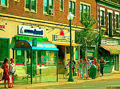 Store Fronts Painting - Sunsource Food Gift Basket Shop Sherbrooke At The Bus Stop Busy Montreal Street Scene Carole Spandau by Carole Spandau