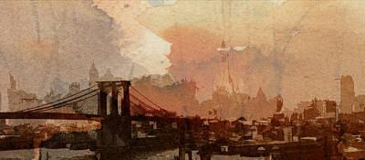 Sunsrise Over Brooklyn Bridge Art Print by Steve K