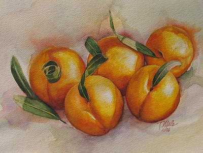 Sunstruck Peaches Art Print by Tracy Male