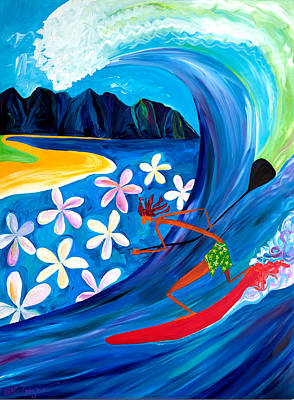 Wave Painting - Sup Fun by Beth Cooper