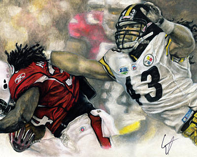 Football Safety Drawing - Super Bowl 43 by William Western