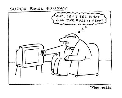Thought Drawing - Super Bowl Sunday by Charles Barsotti