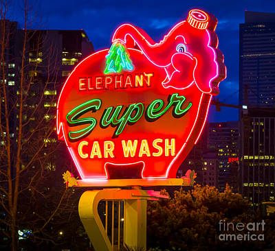 Nostalgic Sign Photograph - Super Car Wash by Inge Johnsson