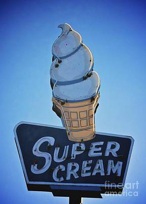 Super Cream Sign Art Print by Linda Simon
